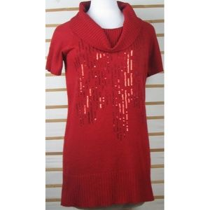 Ladies festive tunic sweater top EUC sequined red